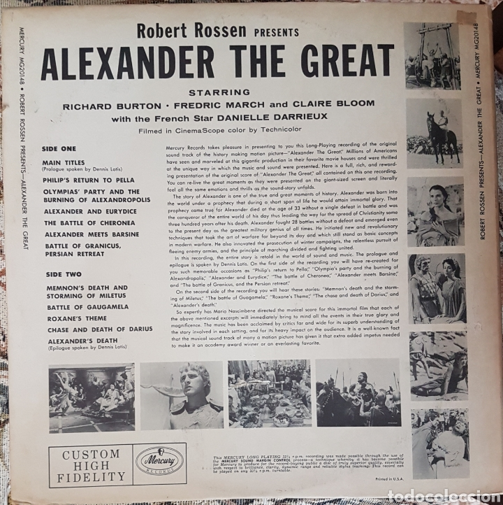 Discos de vinilo: BANDA SONORA DEL FILM ALEXANDER THE GREAT LP SELLO MERCURY EDITADO EN USA. - Foto 2 - 150637310