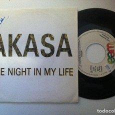 Discos de vinilo: AKASA - ONE NIGHT IN MY LIFE - SINGLE PROMOCIONAL 1989 - WEA. Lote 150768098