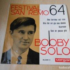 Discos de vinilo: BOBBY SOLO - FESTIVAL SAN REMO 64 -,EP, UNA LACRIMA SUL VISO + 3, AÑO 1964. Lote 150786906