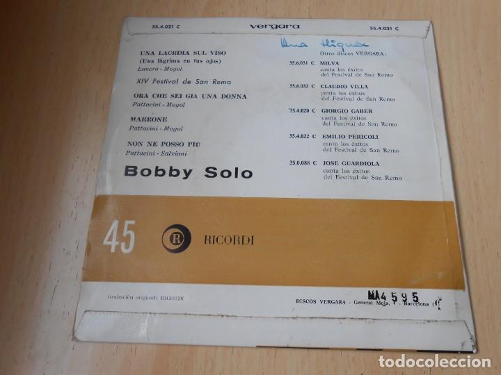 Discos de vinilo: BOBBY SOLO - FESTIVAL SAN REMO 64 -,EP, UNA LACRIMA SUL VISO + 3, AÑO 1964 - Foto 2 - 150786906