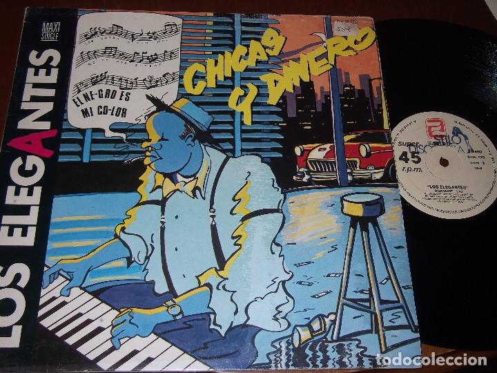 LOS ELEGANTES.MAXI 12´´ 45 RPM. CHICAS Y DINERO. MOVIDA. ZAFIRO, AÑO 1985 (Música - Discos - LP Vinilo - Grupos Españoles de los 70 y 80)