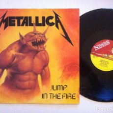 Discos de vinilo: METALLICA - JUMP IN THE FIRE / SEEK AND DESTROY / PHANTOM LORD - EP UK12 45 1984 - MUSIC FOR NATIONS. Lote 150821546