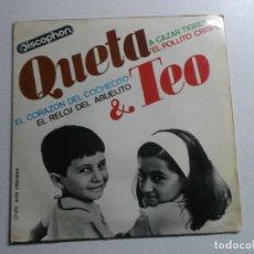 Discos de vinilo: EP QUETA Y TEO: EL POLLITO CRISPIN + A CAZAR TIGRES + EL RELOJ DEL ABUELITO +1. Lote 150822586