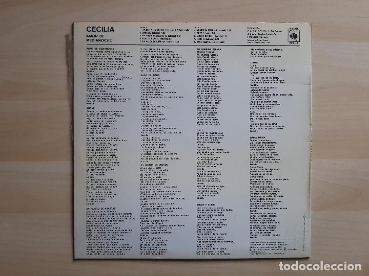 Discos de vinilo: CECILIA - AMOR DE MEDIANOCHE - LP - VINILO - CBS - 1975 - Foto 2 - 150824798