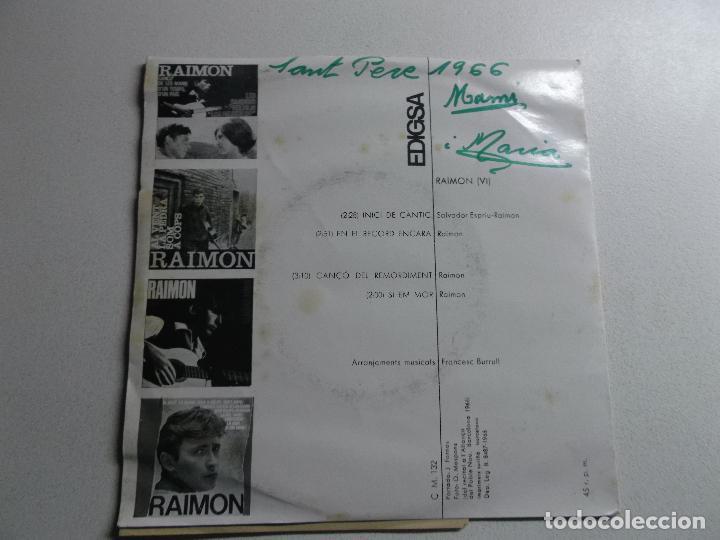 Discos de vinilo: raimon - inici de cantic/en el record encara/canço del remordiment/si em mor 1965 - Foto 2 - 150825682