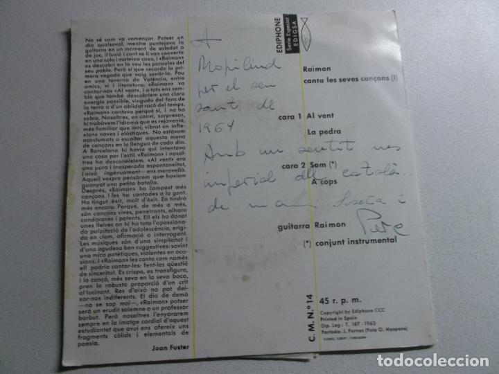 Discos de vinilo: Raimon. Al vent. La Pedra. Som. A cops. Edigsa. 1963. - Foto 2 - 150826206