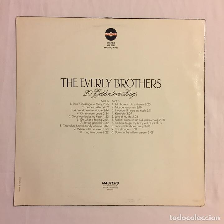 Discos de vinilo: THE EVERLY BROTHERS - 20 GOLDEN LOVE SONGS LP, RECOPILATORIO, AZUL, 1979, HOLANDA, MUY RARO!!! - Foto 3 - 150851754