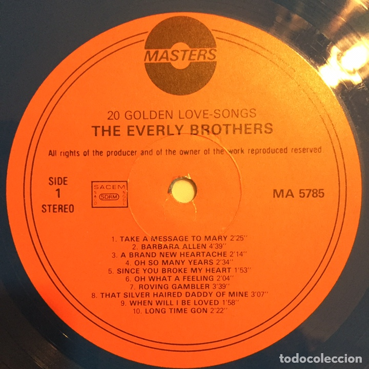Discos de vinilo: THE EVERLY BROTHERS - 20 GOLDEN LOVE SONGS LP, RECOPILATORIO, AZUL, 1979, HOLANDA, MUY RARO!!! - Foto 7 - 150851754