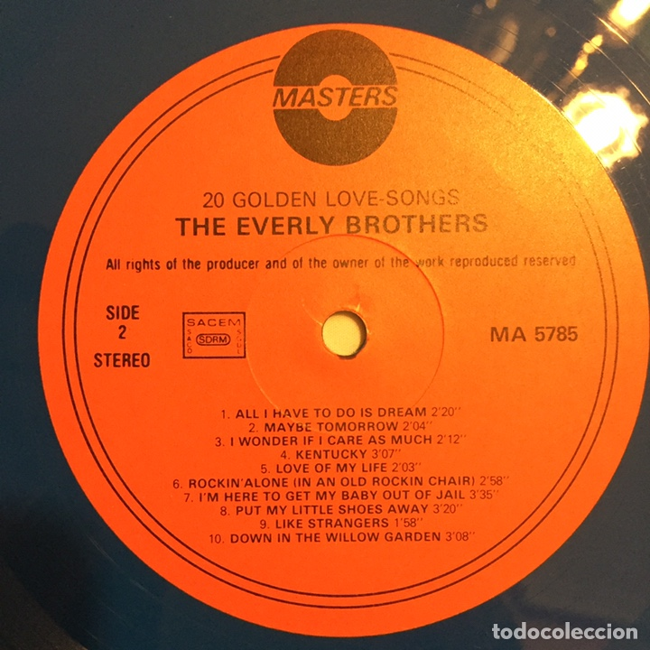 Discos de vinilo: THE EVERLY BROTHERS - 20 GOLDEN LOVE SONGS LP, RECOPILATORIO, AZUL, 1979, HOLANDA, MUY RARO!!! - Foto 8 - 150851754