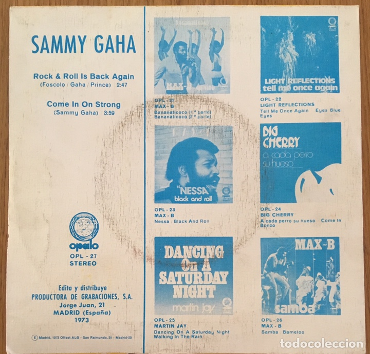 Discos de vinilo: SAMMY GAHA ROCK AND ROLL IS BACK AGAIN SINGLE OPALO ESPAÑA 1973 - Foto 2 - 150928078