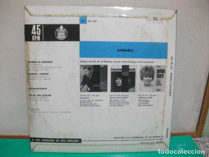 Discos de vinilo: Aimable - Zorba el griego / Jamás, Jamás / Downtown / Se de un lugar - Ep1965 - Foto 2 - 150928438