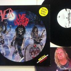 Discos de vinilo: SLAYER - LIVE UNDEAD - EP UK 45 CON POSTER 1987 - METAL BLADE - MUY BUEN ESTADO. Lote 150965722