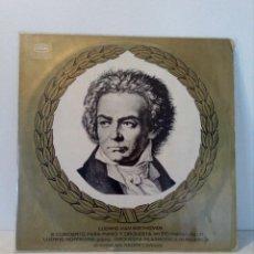 Discos de vinilo: BEETHOVEN (III CONCIERTO PARA PIANO Y ORQUESTA - M.CARIDIS - L.HOFFMANN - HUNGARICA). Lote 151066982