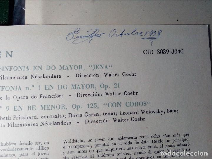 Discos de vinilo: BEETHOVEN CAJA CON 2 LP LIBRETO CID 3039-3040 (DISCOS CID) DIBUJO PORTADA: IZQUIERDO - Foto 9 - 151076842