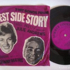 Discos de vinilo: JULIE ANDREWS I FEEL PRETTY / JOHNNY MATHIS MARIA - WEST SIDE STORY O.S.T - SINGLE UK 1966 - CBS. Lote 151136426