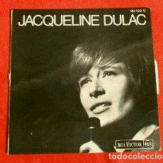 Discos de vinilo: JACQUELINE DULAC (EP.1966 ED. FRANCESA) LORSQU'ON EST HEUREUX - LES LONGS CHEMINS - FRANCIS LAI-RARO. Lote 151302290