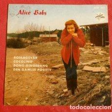 Discos de vinilo: ALICE BABS (EP. 1957) CANTANTE SUECA PARTICIPANTE EN EUROVISION (RARO) ROSLAGSVAR, DONG-DINGEDANG. Lote 151332638