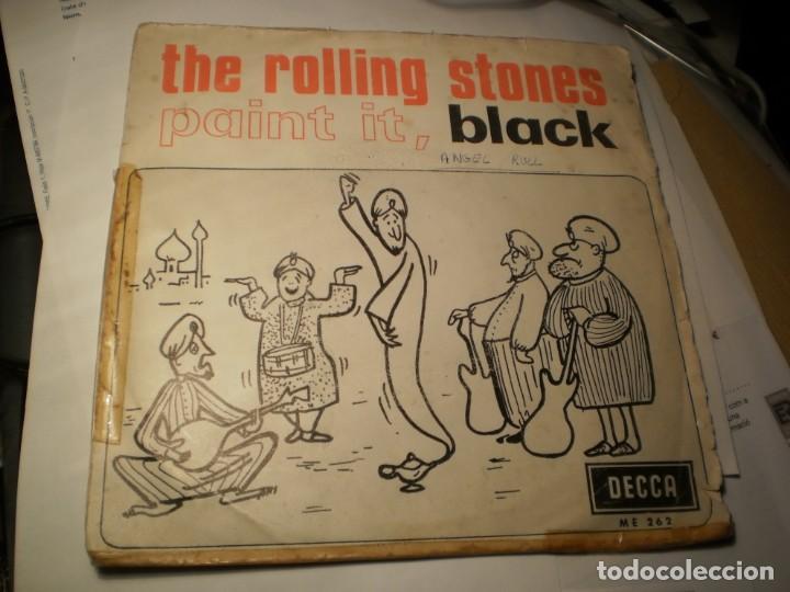 SINGLE THE ROLLING STONES. PAINT IT, BLACK. LONG LONG WHILE. DECCA 1966 SPAIN (PROBADO Y BIEN) (Música - Discos - Singles Vinilo - Pop - Rock Extranjero de los 50 y 60)