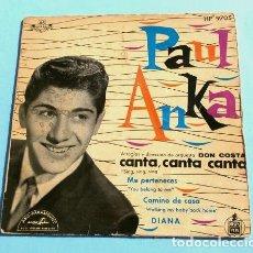 Discos de vinilo: PAUL ANKA (EP. ESPAÑA 1959) CANTA, CANTA, SING, SING - DIANA - ME PERTENECES - ORQUESTA DON COSTA. Lote 151396522