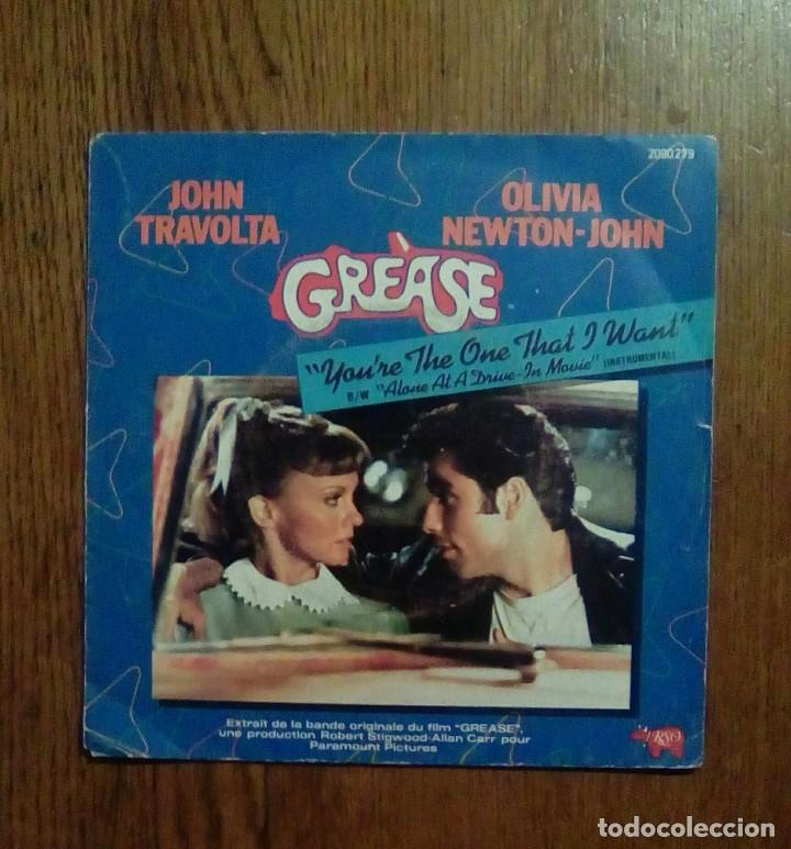 GREASE - YOU'RE THE ONE THAT I WANT / ALONE AT A DRIVE - IN MOVIE, ESO, 1978. FRANCESA. (Música - Discos - Singles Vinilo - Bandas Sonoras y Actores)