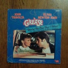 Discos de vinilo: GREASE - YOU'RE THE ONE THAT I WANT / ALONE AT A DRIVE - IN MOVIE, ESO, 1978. FRANCESA.. Lote 151398262
