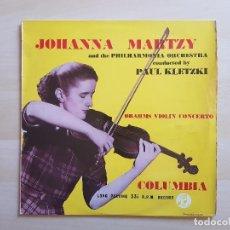 Discos de vinilo: JOHANNA MARTZY - PAUL KLETZKI - LP - VINILO - BRAHMS VIOLIN CONCERTO - COLUMBIA. Lote 151429522