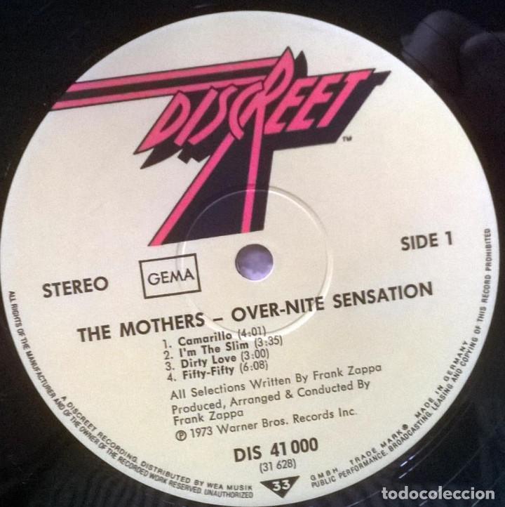 Discos de vinilo: Frank Zappa & Mothers of Invention. Over-Nite Sensation Rykodisc Germany 1973 LP + doblwe cubierta - Foto 4 - 151443582
