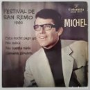 Discos de vinilo: EP / MICHEL / FESTIVAL DE SAN REMO 1963 / ESTA NOCHE PAGO YO +3 / COLUMBIA ECGE 71773 / 1963. Lote 151490990