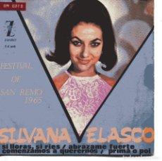 Discos de vinilo: SILVANA VELASCO / SI LLORAS, SI RIES + 3 (EP 1965). Lote 151579262