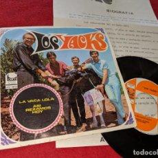 Discos de vinilo: LOS YACKS ASI REZAMOS HOY/LA VACA LOLA 7 SINGLE 1968 CEM + HOJA PROMOCIONAL. Lote 151581442