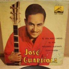 Discos de vinilo: JOSÉ GUARDIOLA / EL DÍA MÁS LARGO / EP-LA VOZ DE SU AMO - 1962 / MBC. ***/***. Lote 151586178