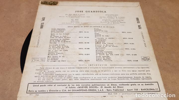 Discos de vinilo: JOSÉ GUARDIOLA / EL DÍA MÁS LARGO / EP-LA VOZ DE SU AMO - 1962 / MBC. ***/*** - Foto 2 - 151586178
