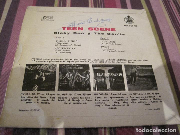 Discos de vinilo: EP DICKY DOO & THE DON´TS TEEN SCENE HISPAVOX 067 22 SPAIN - Foto 2 - 151702762