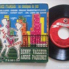 Discos de vinilo: BENNY VASSEUR & ANDRÉ PAQUINET - JAZZ A DANCER - EP FRANCES 1960 - FESTIVAL. Lote 151825930