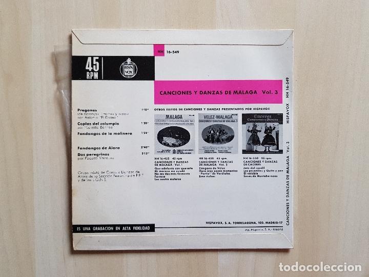 Discos de vinilo: ALORA - CACIONES Y DANZAS DE MALAGA - SINGLE - VINILO - HISPAVOX - 1966 - Foto 2 - 151861662