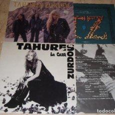 Discos de vinilo: TAHURES ZURDOS -LOTE DOS LP- LA CAZA / NIEVE NEGRA / CONTIENEN FUNDAS ORIGINALES CON LETRAS. Lote 151886222
