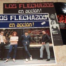 Discos de vinilo: LOS FLECHAZOS - EN ACCION ¡ - LP 1ª EDICION COMPLETO MOD REVIVAL GARAGE-DRO- 4D0905 01.SPA 1992.. Lote 151886534