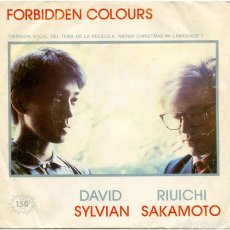 Discos de vinilo: DAVID SYLVIAN, RIUICHI SAKAMOTO ‎– FORBIDDEN COLOURS - SG SPAIN 1983 - VIRGIN B-105.513. Lote 151894150
