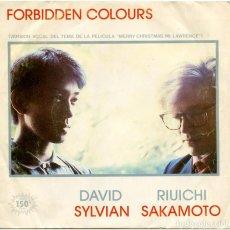 Discos de vinilo: DAVID SYLVIAN, RIUICHI SAKAMOTO – FORBIDDEN COLOURS - SG SPAIN 1983 - VIRGIN B-105.513. Lote 151894150