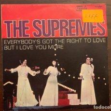 Discos de vinilo: THE SUPREMES ?– EVERYBODY'S GOT THE RIGHT TO LOVE / BUT I LOVE YOU MORE SELLO: TAMLA MOTOWN ?– M-509. Lote 152035838