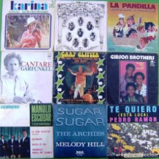 Discos de vinilo: LOTE 9 SINGLES: KARINA, GARFUNKEL, GARY GLITTER, MANOLO ESCOBAR, GIBSON BROTHERS. Lote 152037902