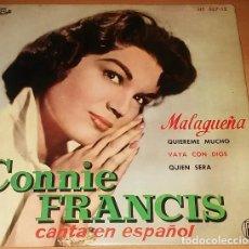 Discos de vinilo: CONNIE FRANCIS - MALAGUEÑA - EP SPAIN 1960. Lote 152160774