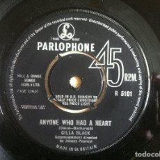 Discos de vinilo: CILLA BLACK - ANYONE WHO HAD A HEART / JUST FOR YOU - SINGLE UK 1964 - PARLOPHONE. Lote 152168522