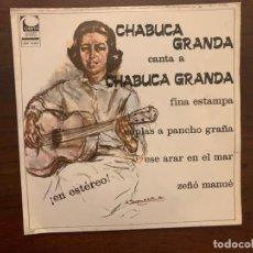 Discos de vinilo: CHABUCA GRANDA – CANTA A CHABUCA GRANDA SELLO: CEM – CEM 10-001 FORMATO: VINYL, 7 , 45 RPM . Lote 152334078