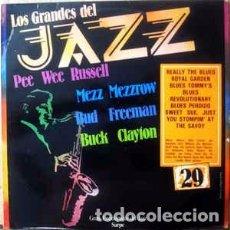 Discos de vinilo: MEZZ MEZZROW / BUCK CLAYTON / PEE WEE RUSSELL / BUD FREEMAN - LOS GRANDES DEL JAZZ 29 (LP, COMP) LA. Lote 152346566