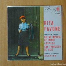 Discos de vinilo: RITA PAVONE - QUE ME IMPORTA EL MUNDO + 3 - EP. Lote 152353718