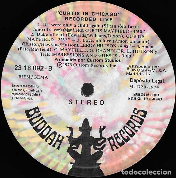 Discos de vinilo: Curtis Mayfield ?– Curtis In Chicago - Recorded Live Sello: Buddah Records ?– 23 18 092 Formato: LP - Foto 2 - 152360534