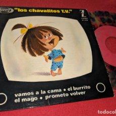 Disques de vinyle: LOS CHAVALITOS TV VAMOS A LA CAMA/BURRITO/MAGO/PROMETO VOLVER 7'' EP 1964 ZAFIRO VINILO MULTICOLOR. Lote 152372590
