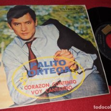 Discos de vinilo: PALITO ORTEGA CORAZON CONTENTO/VOY CANTANTO 7'' SINGLE 1968 RCA PROMO. Lote 152375290