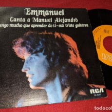 Discos de vinilo: EMMANUEL CANTA A MANUEL ALEJANDRO TENGO MUCHO QUE APRENDER DE TI/+1 7'' SINGLE 1980 RCA. Lote 152375334